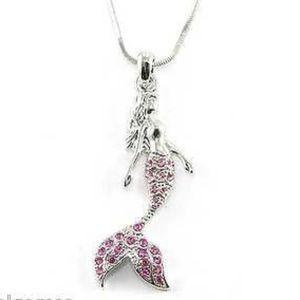 Pink Mermaid Crystal Necklace